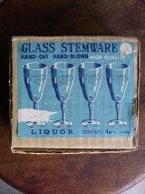 アンティーク リキュールグラス GLASS STEMWARE LIIQUOR 4pcs デッドストック 箱入り ビンテージ その2