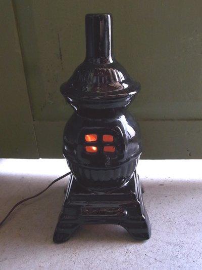 画像2: アンティーク 1灯 デスクランプ ストーブ型 ストーブモチーフ 陶器 ビンテージ
