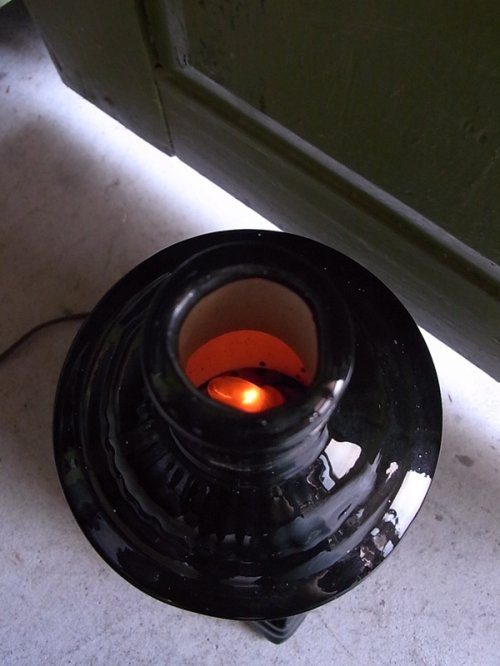 other photographs.1: アンティーク 1灯 デスクランプ ストーブ型 ストーブモチーフ 陶器 ビンテージ