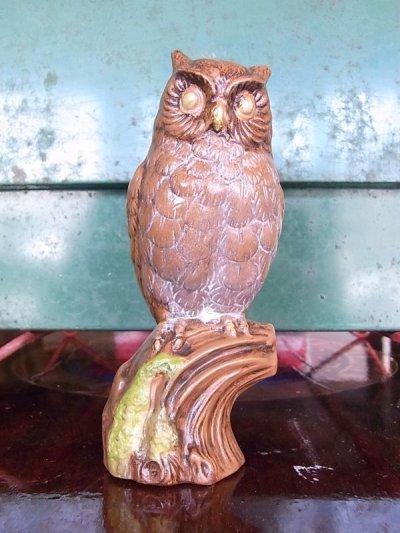 画像1: アンティーク オブジェ フクロウ 陶器 ビンテージ