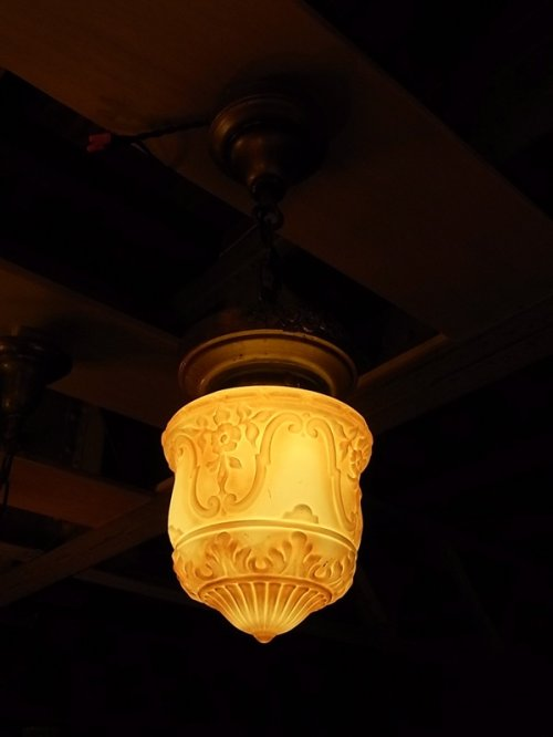 other photographs.1: アンティーク 照明器具 柄付ミルクガラスシェード  ペンダントランプ 1灯 シーリングライト ビンテージ