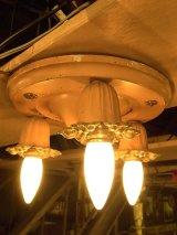 アンティーク 1930'S シーリングライト 3灯 円形 装飾 フラワーモチーフ ビンテージ