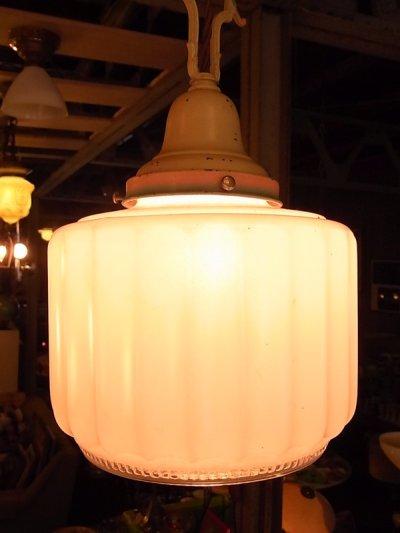 画像1: アンティーク 1930年代 装飾付ミルクガラスシェード  ペンダントランプ 1灯 シーリングライト 装飾 ビンテージ