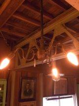 アンティーク ガス灯改 シーリングライト 3灯 3又 装飾 1890~1900's ビンテージ