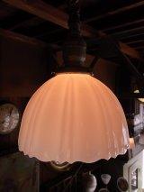 アンティーク 19世紀 ガス灯改 アーリーセンチュリー EXへヴィーミルクガラスシェード  ペンダントランプ 1灯 シーリングライト   ビンテージ