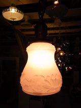 アンティーク 19世紀 ガス灯シェード アーリーセンチュリー 柄付ミルクガラスシェード  ペンダントランプ 1灯 シーリングライト ビンテージ