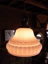 アンティーク ミルクガラスシェード付 ペンダントランプ 1灯 ビンテージ