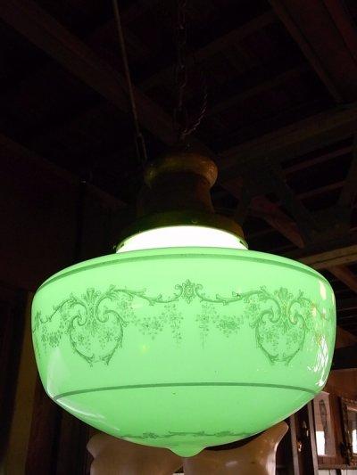 画像3: アンティーク 1920's ペア 柄付きミルクガラスシェード ペンダントランプ 1灯  OLD スクールハウスシーリング 2pcs set ビンテージ