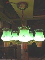 アンティーク 1910's 1920's アーリーエレクトリック 柄付きフロストガラスシェード ペンダントランプ 5灯 装飾 ビンテージ