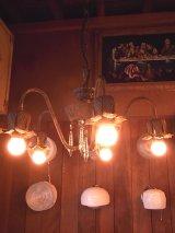 アンティーク   アーリーセンチュリー  ペンダントランプ シャンデリア 5灯 装飾付き シーリングライト ビンテージ