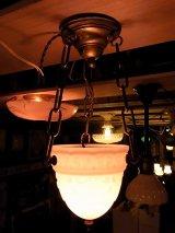 アンティーク 柄付ミルクガラス ドームシェード  ペンダントランプ 1灯 シーリングライト ビンテージ