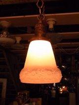 アンティーク ビクトリアン 柄付きフロストガラスシェード  ペンダントランプ 1灯 シーリングライト   ビンテージ