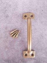 アンティーク 取っ手 真鍮色 デッドストック 取付け用マイナスビス付き ドロワー キャビネット 窓などに ビンテージ