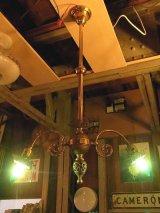 アンティーク 19世紀後半 ガス灯改 ソリッドブラス シーリングライト ベアバルブ 2灯 2又 1890-1900's 装飾 ビンテージ
