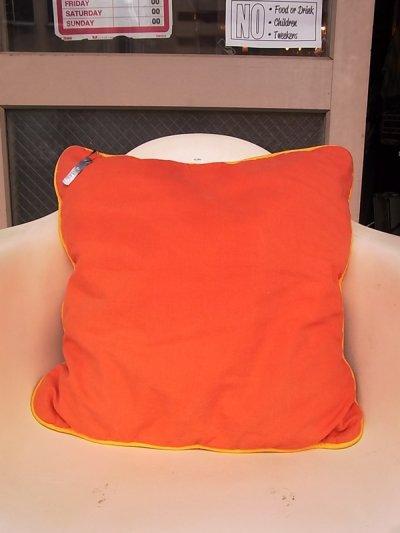画像1: アンティーク クッション クッションカバー付きクッション オレンジ ヴィンテージ その1