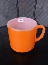 アンティーク フェデラル ミルクガラス マグカップ スタッキングマグ オレンジ ビンテージ