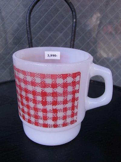 画像1: アンティーク ファイヤーキング スタッキング マグカップ スクエアギンガム レッド ビンテージ その2