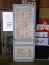 アンティーク フランス 木製ドア ホワイト×ライトブルー 柄付き ビンテージ