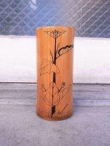 アンティーク folkart フラワーベース 花瓶 バンブー 植物紋様 ビンテージ