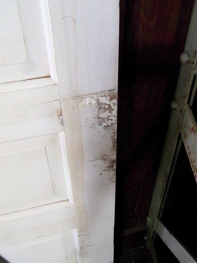 画像4: アンティーク ガラス窓付木製ドア ホワイト/ブルー×ホワイト ビンテージ