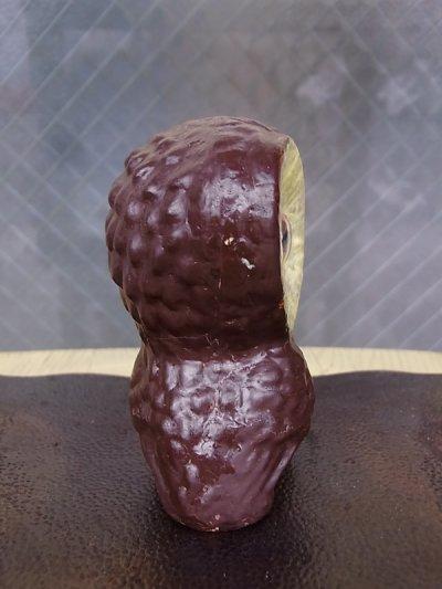 画像2: アンティーク オブジェ フクロウ 不苦労 陶器 目が可動 ビンテージ その2