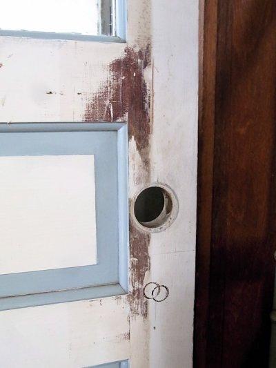 画像2: アンティーク ガラス窓付木製ドア ホワイト/ブルー×ホワイト ビンテージ