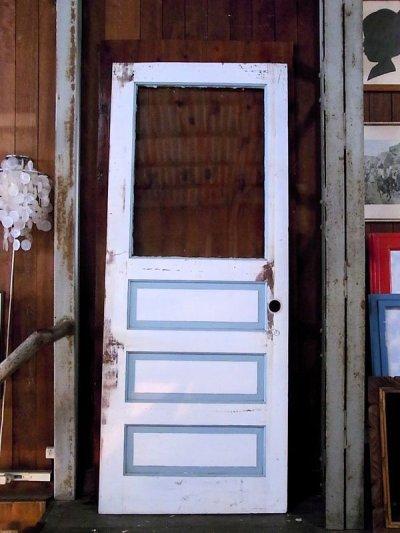 画像1: アンティーク ガラス窓付木製ドア ホワイト/ブルー×ホワイト ビンテージ