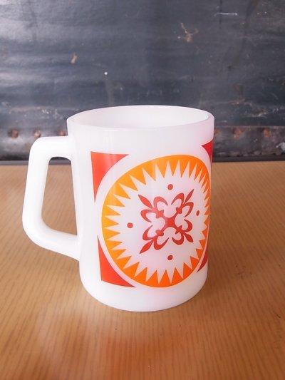 画像2: アンティーク フェデラル マグカップ ミルクガラス プリント ビンテージ