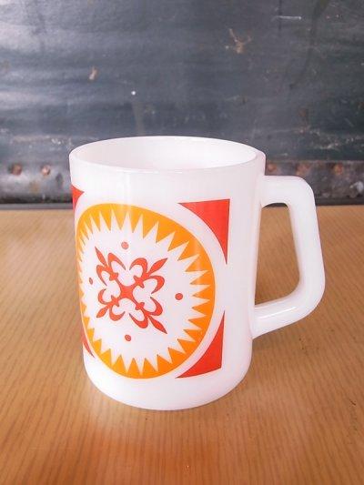 画像1: アンティーク フェデラル マグカップ ミルクガラス プリント ビンテージ