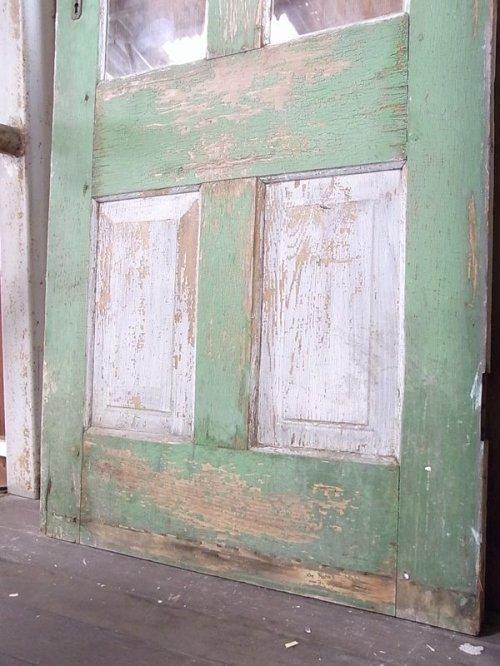 other photographs.1: アンティーク 2分割ガラス窓付木製ドア ピンク/グリーン×グリーン/ブルー シャビー ビンテージ