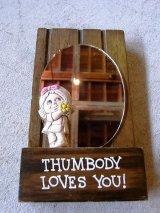 アンティーク 鏡 ミラー 木製土台 メッセージ ドール THUMBODY LOVES YOU! ビンテージ