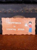 アンティーク folkart ウォールオーナメント 壁掛け ウッド HAPPINESS is knowing JESUS ビンテージ
