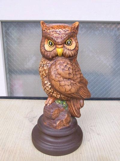 画像1: アンティーク アウル オウル オブジェ OWL フクロウ 陶器 不苦労 ビンテージ