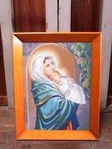 アンティーク 壁掛け絵画 絵画 マリア イエス キリスト ウッドフレーム ビンテージ