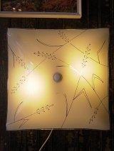 アンティーク 1960'S 柄付ガラスシェード  2灯 シーリングマウント&ウォールマウントブラケットライト ビンテージ