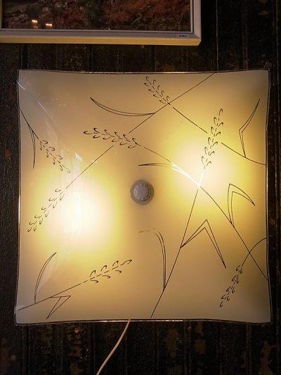 画像1: アンティーク 1960'S 柄付ガラスシェード  2灯 シーリングマウント&ウォールマウントブラケットライト ビンテージ