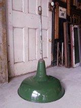 アンティーク 1920'S 30'S factory lamp salvage from Packard Automotive Plant インダストリアルシーリングライト ガスステーションランプ ホーローメタルシェード 琺瑯 ペンダントランプ 1灯 グリーン シャフト付 ビンテージ その1