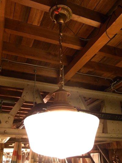 画像3: アンティーク ビクトリアン ミルクガラスシェード ペンダントランプ 1灯 スクールハウスシーリング 装飾 ビンテージ