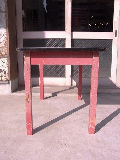 画像5: アンティーク ダイニングテーブル デスク ウッドレッグ ホーロー天板 シャビー レッド 店舗用什器など ビンテージ