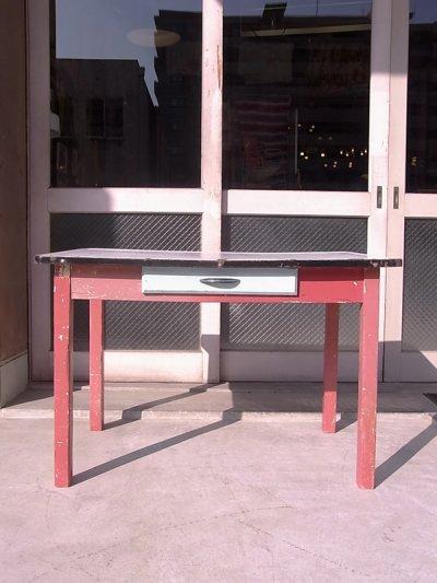 画像2: アンティーク ダイニングテーブル デスク ウッドレッグ ホーロー天板 シャビー レッド 店舗用什器など ビンテージ