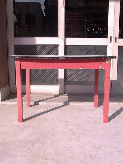 画像4: アンティーク ダイニングテーブル デスク ウッドレッグ ホーロー天板 シャビー レッド 店舗用什器など ビンテージ
