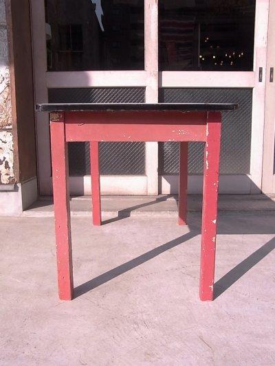 画像3: アンティーク ダイニングテーブル デスク ウッドレッグ ホーロー天板 シャビー レッド 店舗用什器など ビンテージ