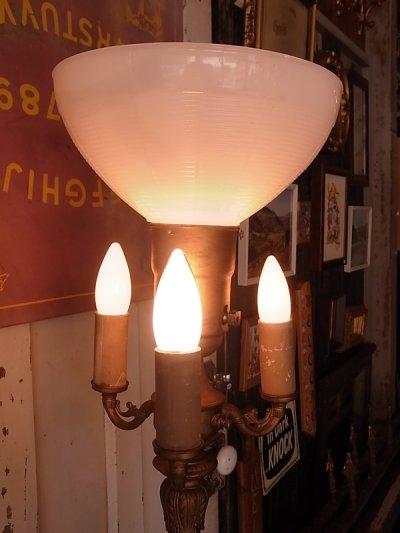 画像5: アンティーク ビクトリアン フロアランプ 1+3灯 ミルクガラスシェード 装飾付き土台 天然石 ゴールド ビンテージ