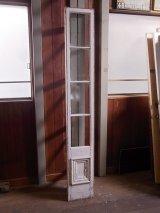 アンティーク 木枠ガラス窓 4分割 木製 ホワイト 装飾 長細 ビンテージ