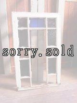 アンティーク 木枠ガラス窓 木製 ステンドグラス ホワイト×ブラウン シャビー ビンテージ