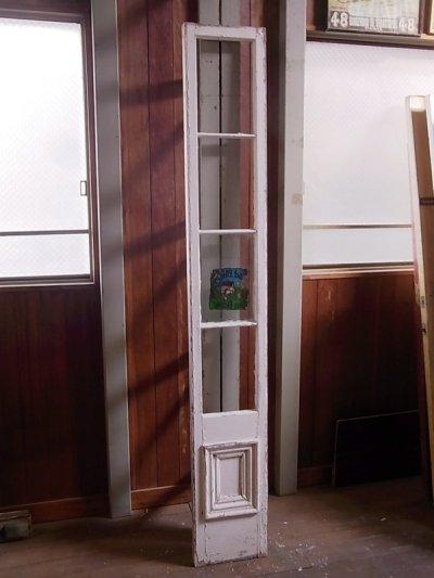 画像1: アンティーク 木枠ガラス窓 4分割 木製 ホワイト 装飾 長細 ステッカー ビンテージ