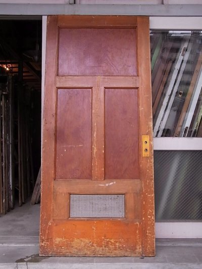 画像1: 1920'S アンティーク 木製ドア ベアウッド アルミルーバー 通気口 ビンテージ