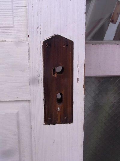 画像2: アンティーク ガラス窓付木製ドア ホワイト×ウッド ビンテージ