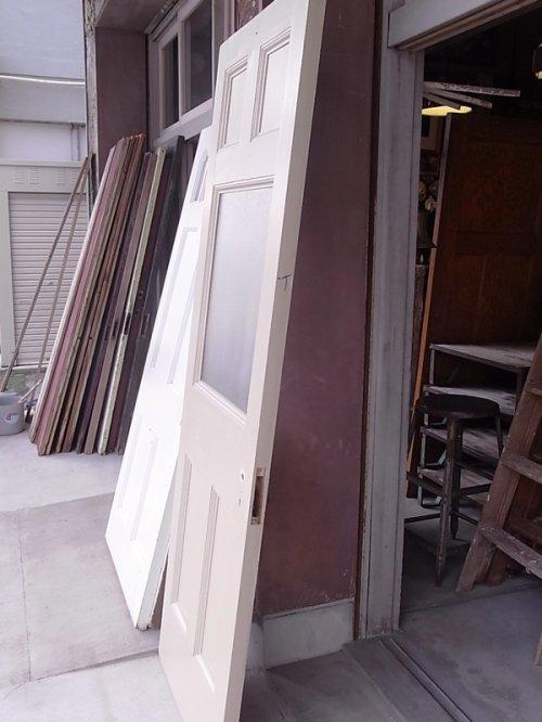 other photographs.3: アンティーク ガラス窓付木製ドア アイボリー 型板ガラス ビンテージ