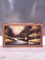 アンティーク 絵画 ベルベットアート 額縁付 ウッドフレーム 渓流 森林 ビンテージ